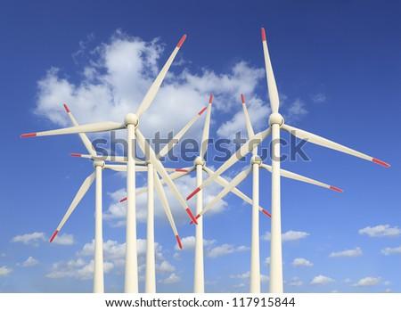 Eco power,Wind turbines farm - stock photo