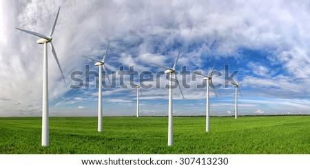 Eco power. Wind turbines generating electricity - stock photo