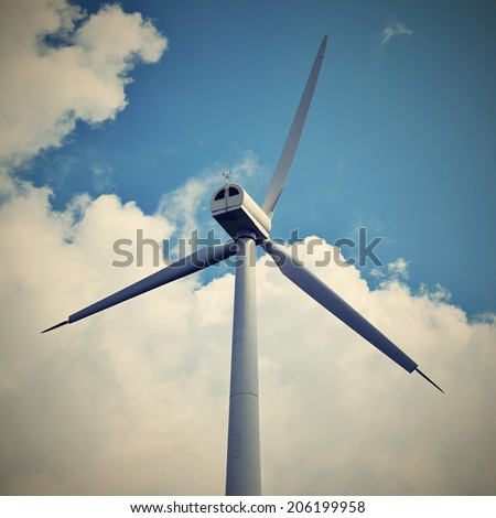 Eco power, wind turbines, wind power. - stock photo