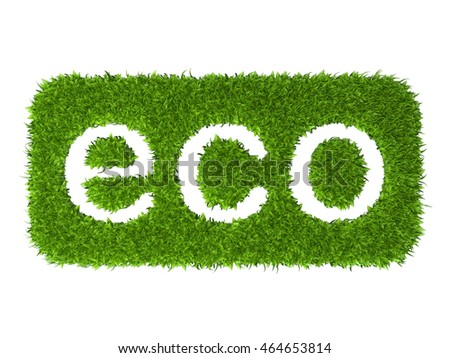 Eco sign rectangular stamp from green grass. 3d illustration isolated on a white background.