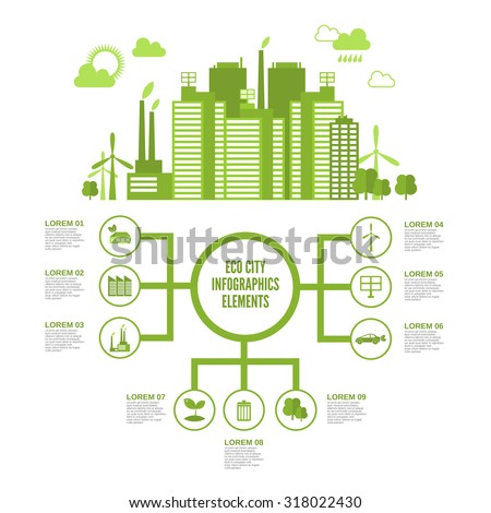 Eco town infographic set with green ecosystem elements and arrows  illustration