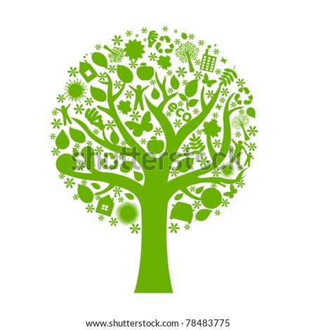 Eco Tree, Isolated On White Background - stock photo
