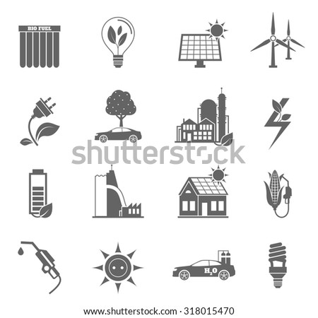 Eco water sun and wind energy icon black set isolated  illustration - stock photo