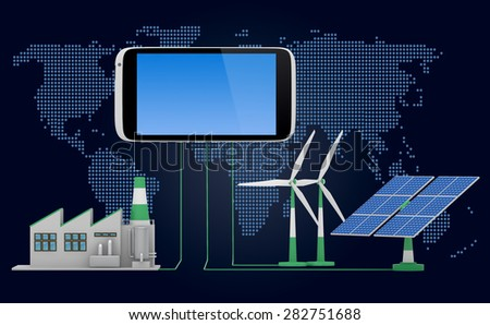 Ecofriendly concept. Green factory, wind turbine and solar panel connected to smartphone iin front of world map background. - stock photo