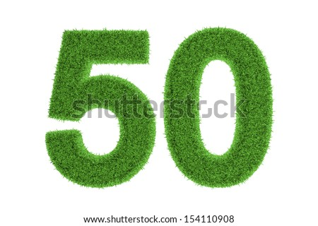 Ecofriendly symbol of the anniversary number of 50, filled with grass pattern, isolated on white background