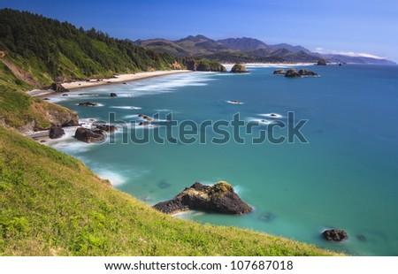 Ecola state park near Cannon beach Oregon - stock photo