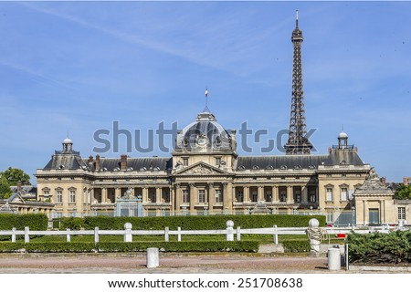 Ecole Militaire (Military School, was founded by Louis XV in 1750) - complex of military training facilities located southeast of Champ de Mars in Paris, France. - stock photo