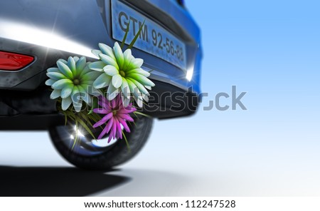 ecologic fuel concept with flowers - stock photo