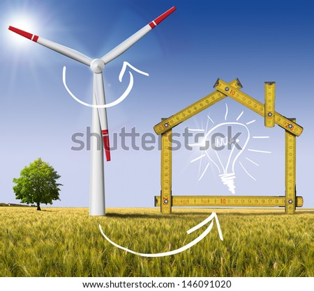 Ecologic House - Wind Energy Concept / Wooden yellow meter tool forming a ecologic house with wind energy turbine power station - stock photo