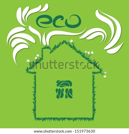 Ecologic house with grass and flowers on the green background - stock photo
