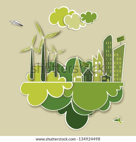 Ecologic town, sustainable energy industry development background. - stock photo