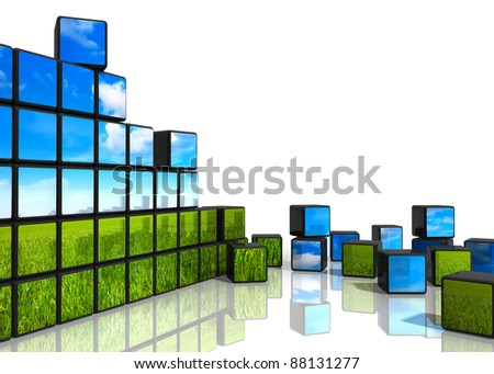 Ecological concept: cubes from wall with natural landscape scattered on white reflective background - stock photo