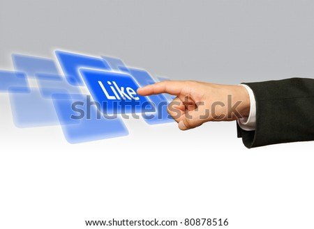 Ecological concept, finger of businessman pessing likeblue button.