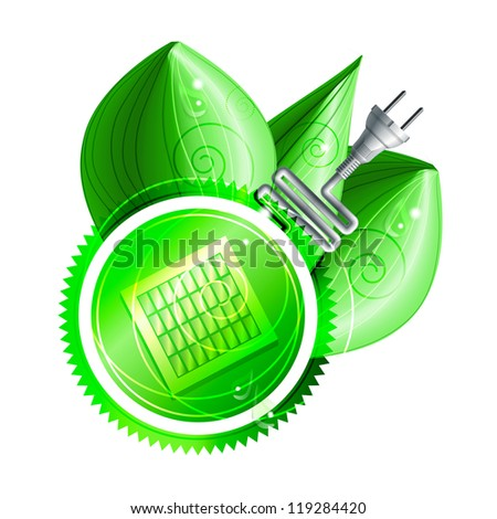 Ecological concept: green label with solar panels and electricity plug with three shiny leaves with dew drops. Raster version of the vector image - stock photo