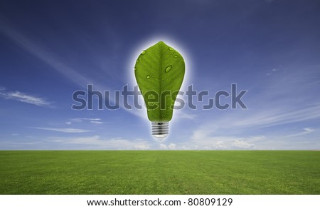 Ecological concept, leaf and lamp mix together