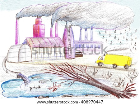 Ecological drawing on the theme of environmental pollution. Factory, tube, waste