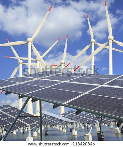 Ecological energy, fish ponds, wind power and solar generator sets