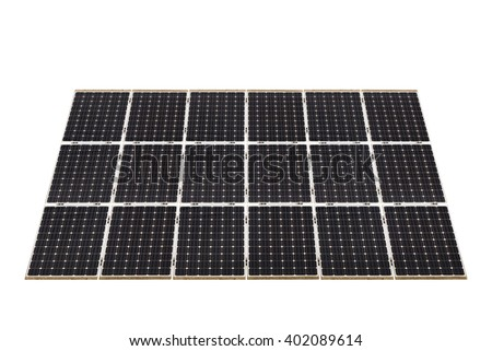Ecological energy renewable solar panel plant electric power isolated on white background. This has clipping path. - stock photo