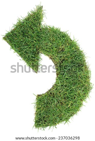 Ecological Green Grass Arrow Isolated on White Background - stock photo