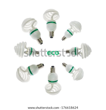 Ecological ligh bulbs in different angles. Isolated with clipping patch included on white background. - stock photo