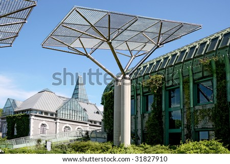 Ecological modern building of library in Warsaw. Poland. Architect Marek Budzynski. - stock photo