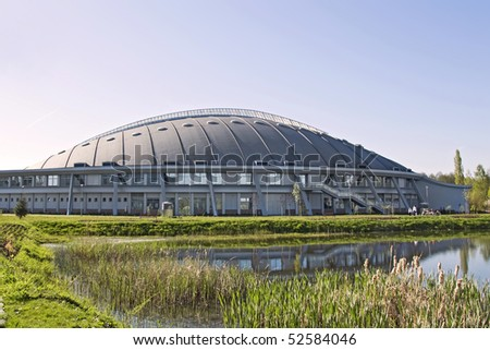Ecological modern building of swimming pool. Warsaw in Poland. - stock photo