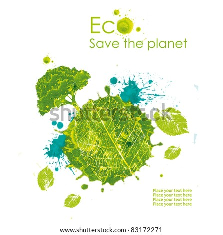 Ecological planet earth symbolizes the protection of the environment  .white background in watercolor technique - stock photo