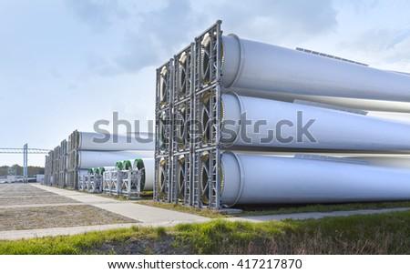 ecological power generation,wind turbine blades storage - stock photo