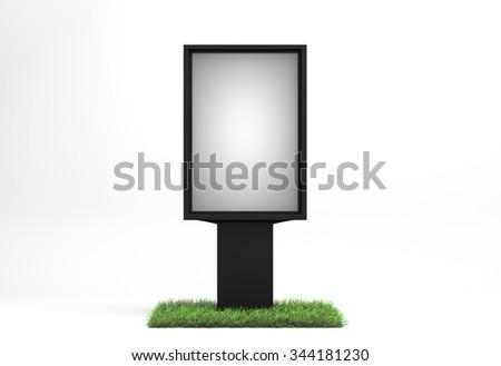 Ecological street advertising billboard on white background - stock photo