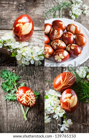 Ecological Style of Homemade Decoration Easter eggs with fresh green plants, vintage.   - stock photo