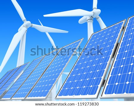 Ecologically clean power engineering - stock photo
