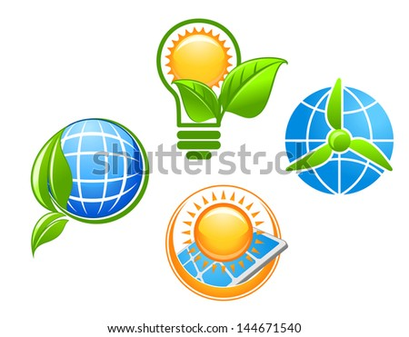 Ecology and environment icons set for ecological concept design or idea of logo. Vector version also available in gallery - stock photo