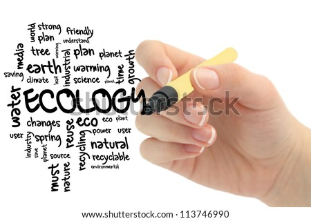 Ecology and nature word cloud - stock photo