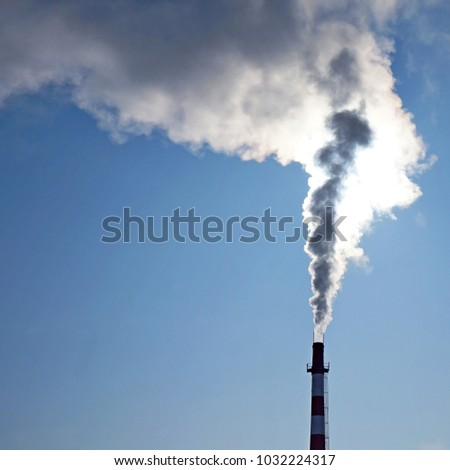 Ecology. Chimney with smoke smoke pollution industry energy sky