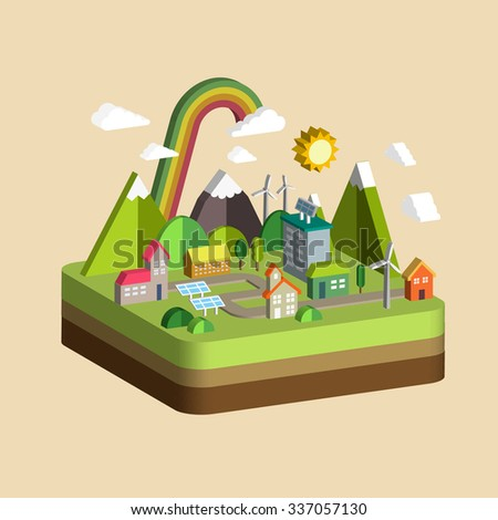 ecology city scenery concept in 3d isometric flat design - stock photo