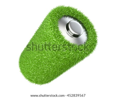 Ecology concept a net energy. Battery from grass with white background.