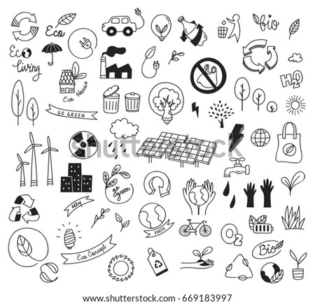 Ecology concept doodle isolated on white background