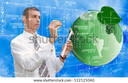 Ecology concept.Green planet.Designing new ecological technology - stock photo