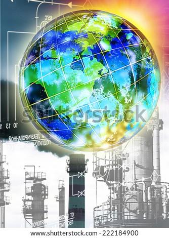 Ecology concept.Industrial emissions to the atmosphere will lead to global warming and environmental catastrophe - stock photo