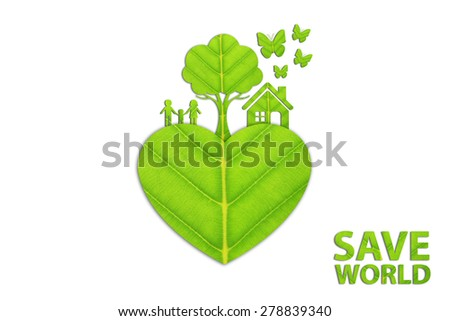 Ecology concept made from green leaves. - stock photo