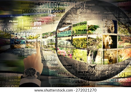 Ecology concept, planet with nature pictures - stock photo