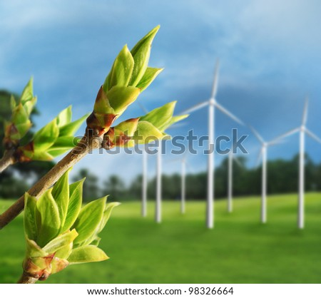 Ecology concept. Renewable energy from wind turbines. - stock photo