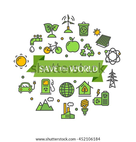Ecology Concept. Save The World.  illustration