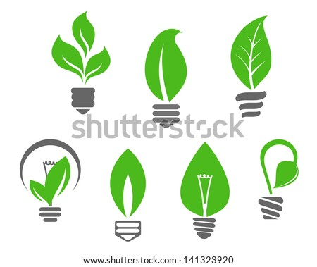 Ecology concept - symbols of light bulbs with green leaves for idea of logo. Vector version also available in gallery - stock photo