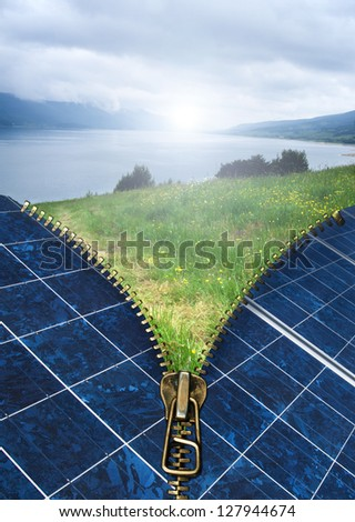 Ecology conception with zipper and solar panels. Nature landscape - stock photo