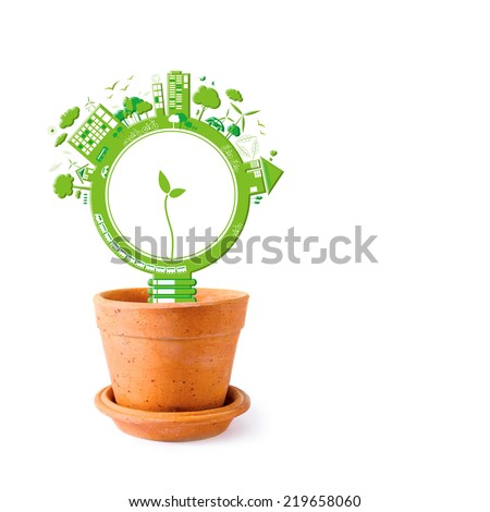 Ecology concepts design on white background - stock photo