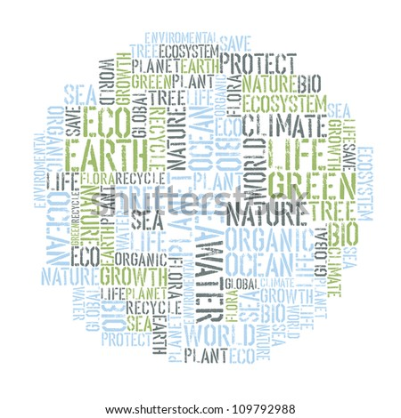 Ecology Earth concept word collage. Environmental poster design tempolate. Raster version, vector file available in portfolio. - stock photo
