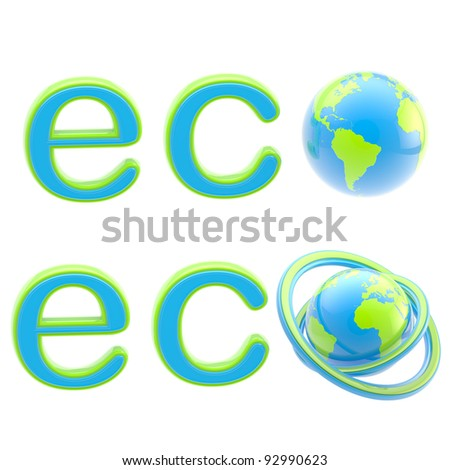 Ecology eco emblem green and blue sign with a planet globe isolated on white
