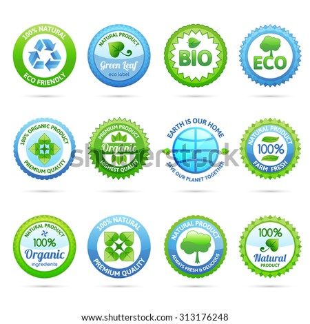 Ecology eco friendly natural organic products paper labels set isolated  illustration - stock photo