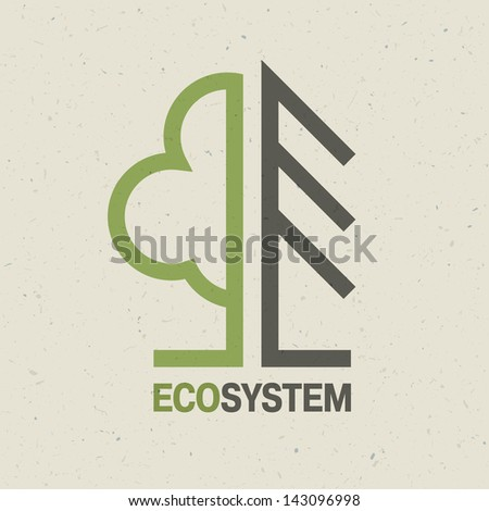Ecology emblem concept. Raster version, vector file available in portfolio. - stock photo